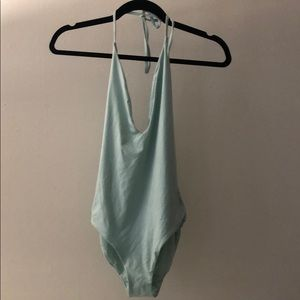 Onia classic turquoise low cut halter, XS